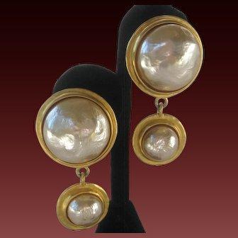 KARL LAGERFELD Beautiful Large Baroque Glass Pearls & Gold Earrings