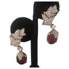French Molded Red Glass & Rhinestones Vintage Earrings
