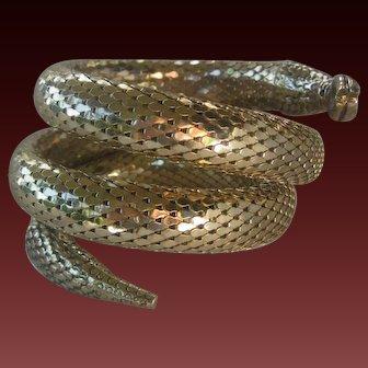 Triple Wrap Gold Tone Mesh Snake Cuff Bracelet Whiting Davis