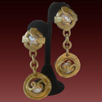 BLANCA Gold & Faux Pearls Hanging Earrings