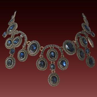 OSCAR DE LA RENTA Stunning Sapphire Glass & Pave Large Bib Necklace