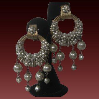 MIRIAM HASKELL Clusters & Dangling Pearls Rare Vintage Earrings