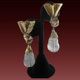 ANTIGONA Paris Vintage Gold Bow & Marbled Glass Drop French Vintage Earrings