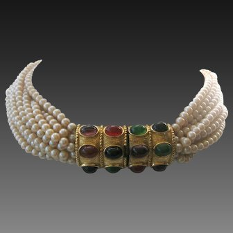 CINER Stunning Large Oval Cabochons & 12 Strands Vintage Pearls Necklace