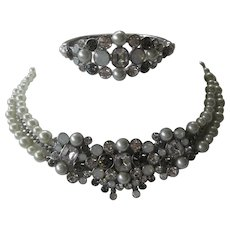 Givenchy Smoke Clear & Glass Pearls Necklace & Cuff Bracelet Demi Parure