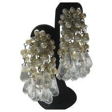 Beautiful Vintage Pearls & Drops Waterfall Earrings