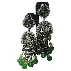 Lawrence Vrba Theatrial Greens & Clear Glass Chandelier Earrings