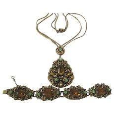 Hungarian Citrine & Green Glass Stones In Heavy Brass Filigree Vintage Necklace & Bracelet