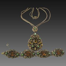 Hungarian Citrine & Green Glass Stones In Heavy Brass Filigree Vintage Necklace & Bracelet
