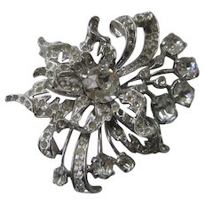 EISENBERG Stunning Large Heavy Clear Ice Glass Stones Pin Brooch