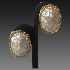 KJL Large Baroque Style Pearl Earrings Kenneth Lane