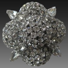 Warner Gorgeous Brilliant Rhinestones Large Vintage Pin Brooch