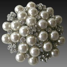 Vintage Pearls & Rhinestones Large Hi Quality Pin Brooch