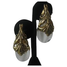 INNA CYTRINE Large Molded Lucite & Gold Overlay Earrings