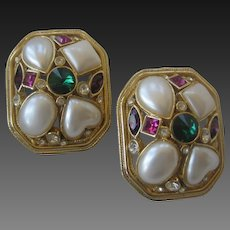 Beautiful Vintage Glass Stones & Pearls Large Earrings