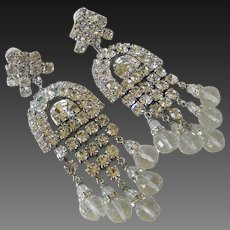 LAWRENCE VRBA Theatrical Clear Glass & Rhinestones Large Chandelier Earrings