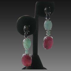 Natural Emeralds Sapphires & Red Beryl In 925 Sterling Silver Earrings