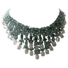 Genuine Emeralds & Green Prehnite Set In Intricate 925 Sterling Silver Bib Necklace