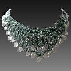 Genuine Emeralds & Green Prehnite Set In Intricate 925 Sterling Silver Bib Necklace