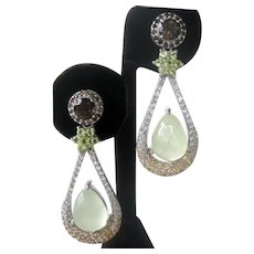 Peridots, Citrine, Topaz & Natural Prehnite Stones Set In 925 Sterling Silver Earrings