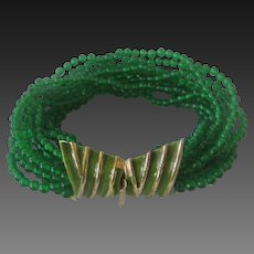 K.J.L. Early Kenneth Lane Signature Green Glass & Enamel Bracelet