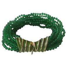 K.J.L. Early Kenneth Lane Signature Green Glass & Enamel Bracelet