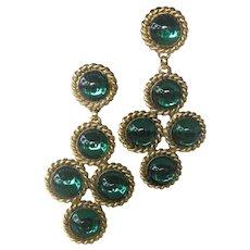 EDOUARD RAMBAUD Paris France Stunning Green Glass Cabochon Stones Chandelier Earrings