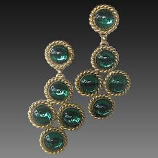 EDOUARD RAMBAUD Paris France Stunning Green Glass Cabochon Stones Chandelier Earrings