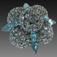 WARNER Gorgeous Vintage Aqua  Rhinestones Large Brooch Pin