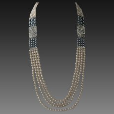 1920s Art Deco French Paste & Pearls Long Flapper Necklace
