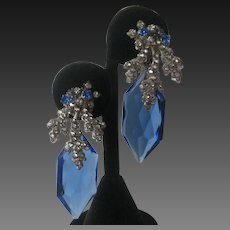 MIRIAM HASKELL Early Gorgeous Blue Glass & Rhinestones Earrings Signed