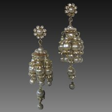 Miriam Haskell Rhinestones & Pearls Waterfall Earrings