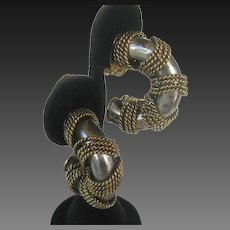 2 Tone Vintage Designer Earrings