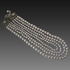 MIRIAM HASKELL 4 Strands Baroque Glass Pearls & Rhinestones Large Necklace