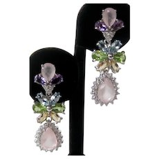 Natural Pink Rose Quartz, Amethyst, Topaz, Citrine & Peridot In 925 Sterling Silver Earrings