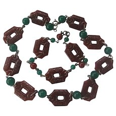 Carved Carnelian Czech Glass & Jade Balls Necklace & Bracelet Attachable Set
