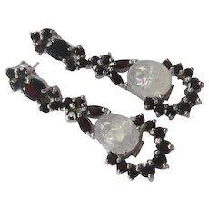 Garnets & Natural white Moonstones In 925 Sterling Silver Earrings