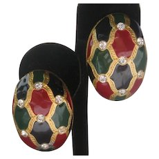 Vintage Enamel & Rhinestones Large Designer Earrings