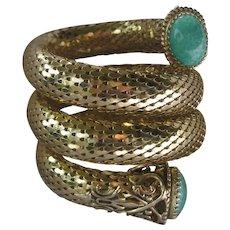 WHITING DAVIS Gold Mesh Marbled Glass Stones Triple Wrap Snake Cuff Bracelet