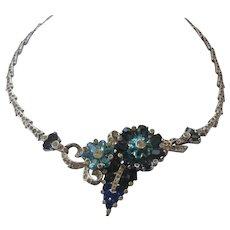 MAZER Stunning Layered Flowers & Rhinestones Necklace