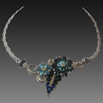 MAZER Stunning Layered Flowers & Rhinestones Necklace