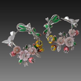 Enamel, Carved Pink Mother Of Pearl Floral Wreaths & Birds 925 Sterling Silver Earrings