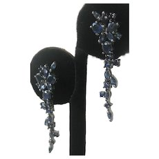Sapphires Set In 925 Sterling Silver Dangling Earrings