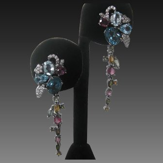 Real Blue Topaz, Tourmaline & CZs In 925 Sterling Silver Earrings