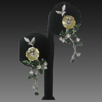 Real Carved Mother Of Pearl Flowers, Chrome Diopside Stones 925 Sterling Silver Earrings