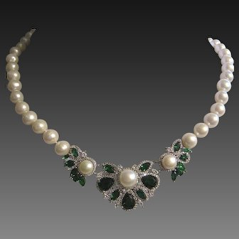 CHR DIOR Stunning Green Glass & Clear Open Back CZs Pearls Necklace