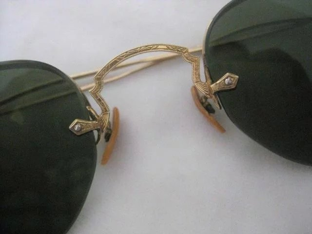 f0ccba39760 Click to expand · Small Antique Wire Rimless Sunglasses Etched Gold With Green  Lenses Excellent