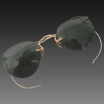 Small Antique Wire Rimless Sunglasses Etched Gold With Green Lenses Excellent
