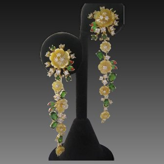 Carved Mother Of Pearl Flowers Chrome Diopside Stones Gold Plated 925 Sterling Silver Chandelier Earrings