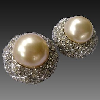 CINER Large Pearls & Rhinestones Earrings